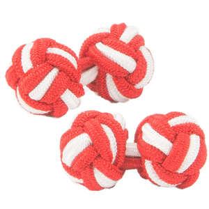 Red and White Silk Knot Cufflinks from Cuffs & Co