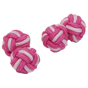 Vibrant Pink and White Silk Knot Cufflinks from Cuffs & Co