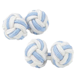 White and Pale Blue Silk Knot Cufflinks from Cuffs & Co