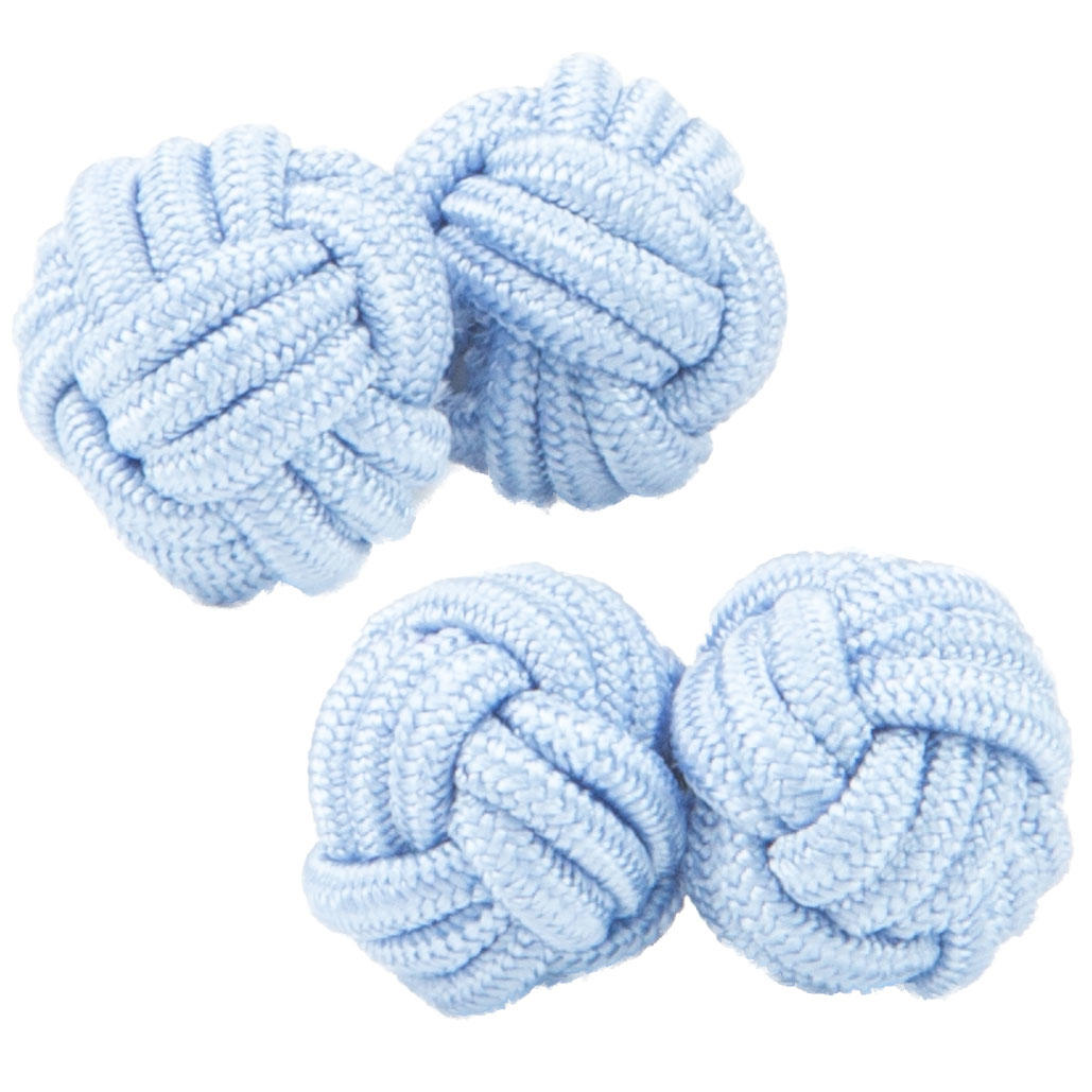 Baby Blue Silk Knot Cufflinks from Cuffs & Co