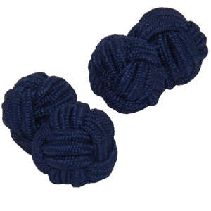Navy Blue Silk Knot Cufflinks from Cuffs & Co