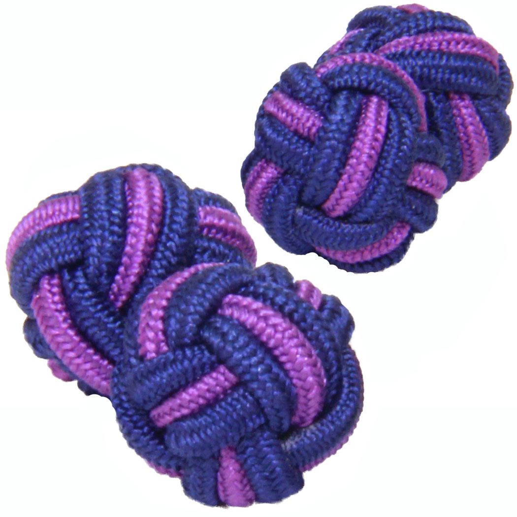 Dark Blue and Purple Silk Knot Cufflinks from Cuffs & Co