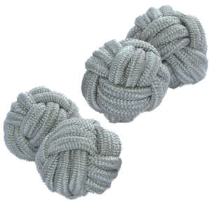 Soft Grey Silk Knot Cufflinks from Cuffs & Co