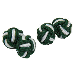 Green and White Silk Knot Cufflinks from Cuffs & Co