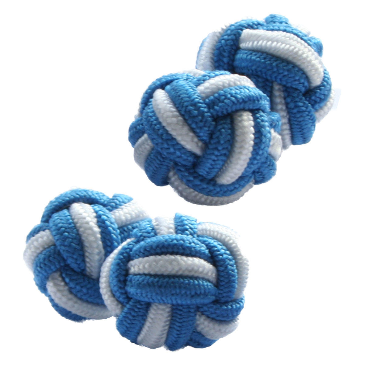 Pale Blue and White Silk Knot Cufflinks from Cuffs & Co