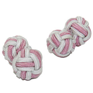 White and Pale Pink Silk Knot Cufflinks from Cuffs & Co