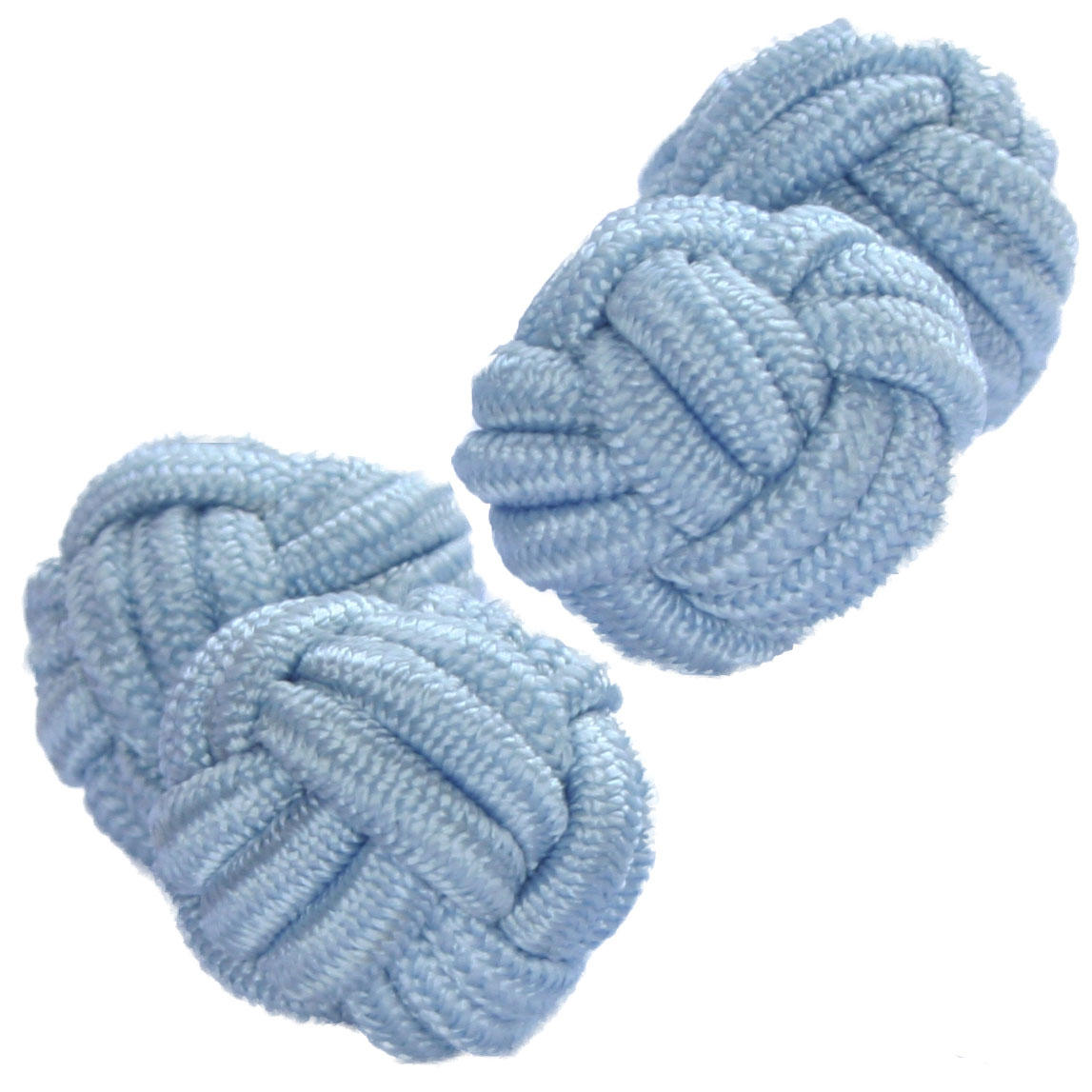 Pale Blue Silk Knot Cufflinks from Cuffs & Co