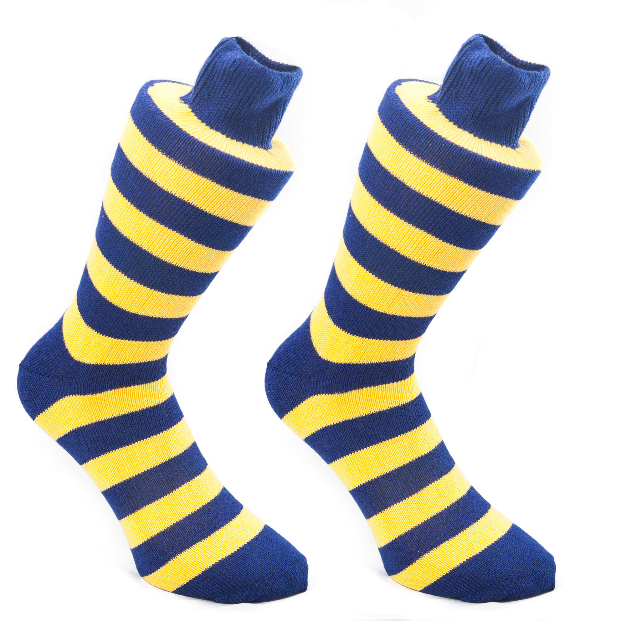 Inky Blue and Gold Stripy Socks| SOCK CLUB® from Cuffs & Co