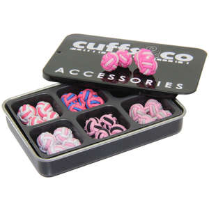 Pink Twist Silk Knot Cufflink Set from Cuffs & Co