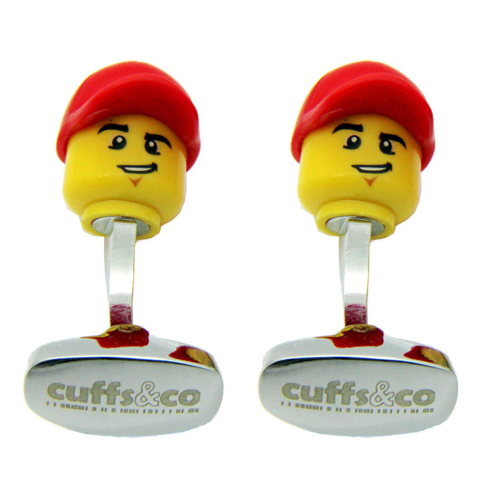 Baseball Cap LEGO® Head Cufflinks from Cuffs & Co