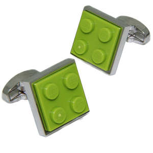 Lime Green LEGO® Brick Cufflinks from Cuffs & Co