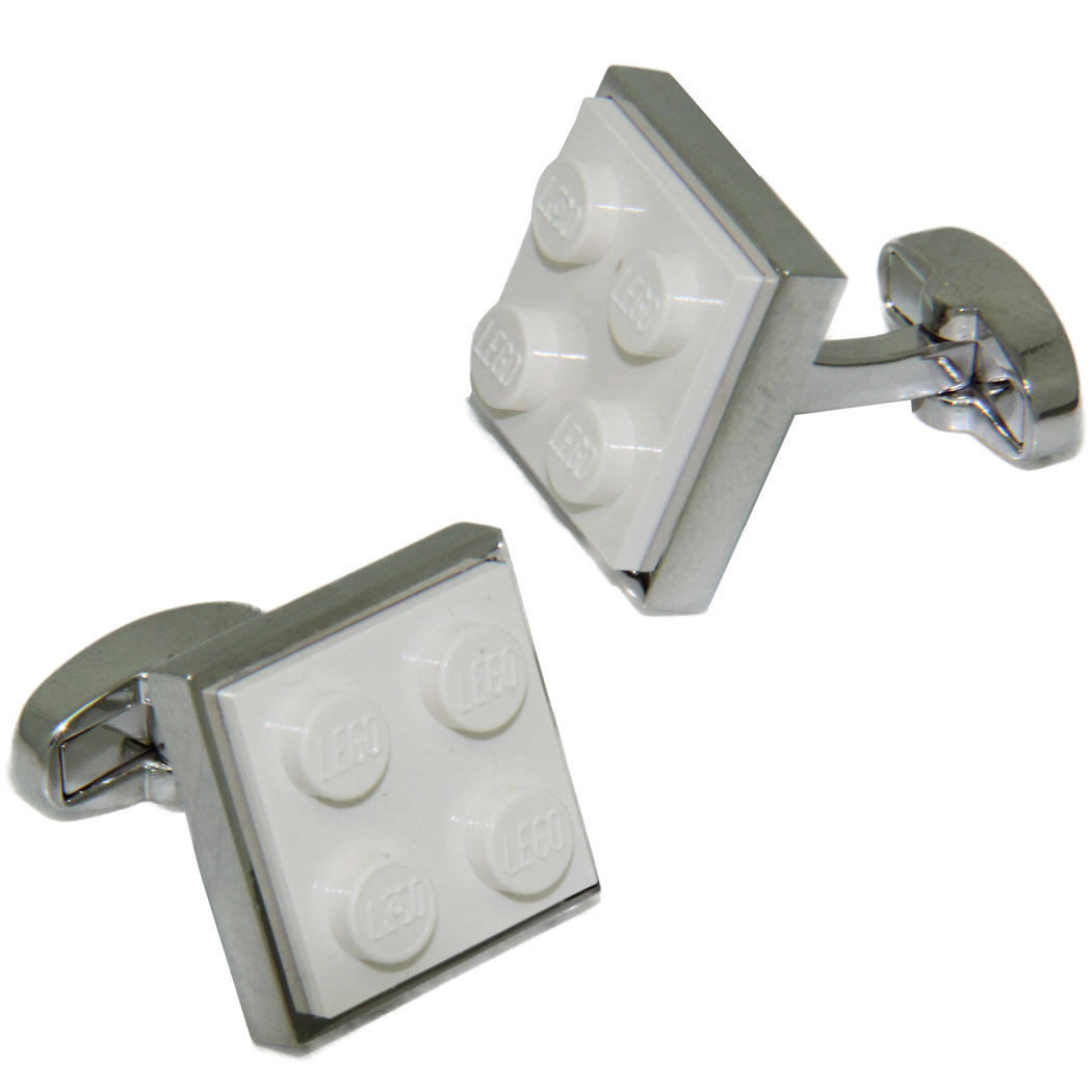 White LEGO® Brick Cufflinks from Cuffs & Co