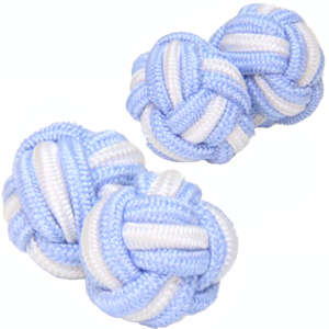 Baby Blue and White Silk Knot Cufflinks from Cuffs & Co