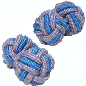 Grey and Mid Blue Silk Knot Cufflinks from Cuffs & Co