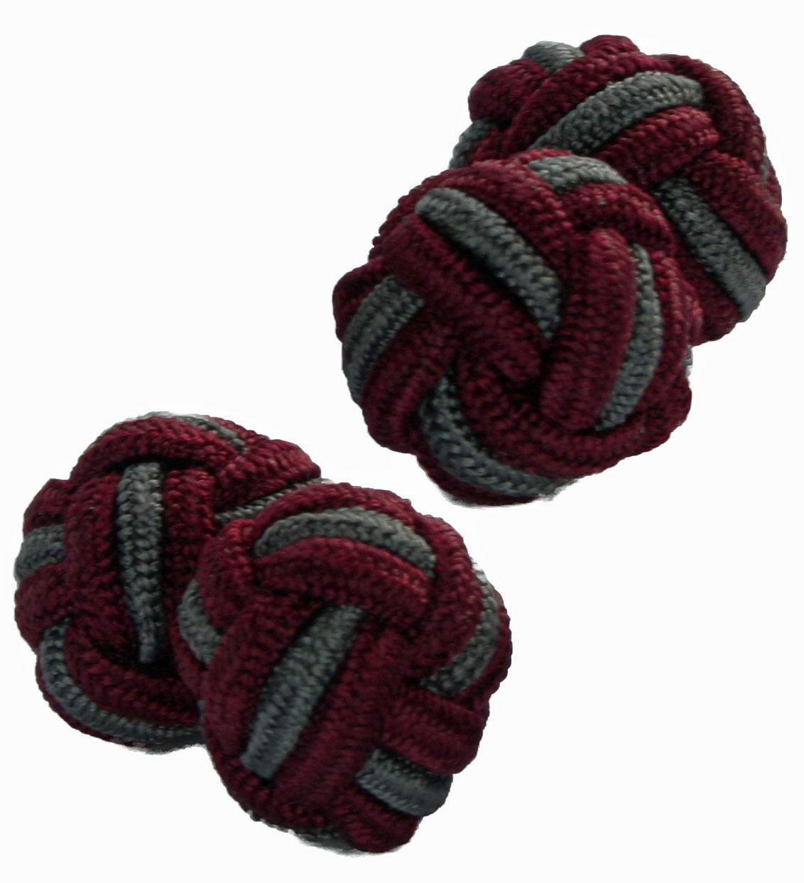 Maroon and Grey Silk Knot Cufflinks from Cuffs & Co