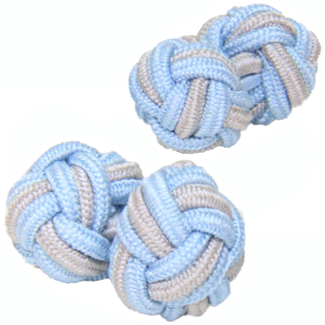 Pale Blue and Grey Silk Knot Cufflinks from Cuffs & Co