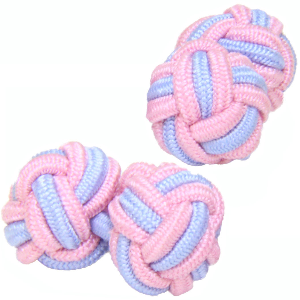 Pale Pink and Baby Blue Silk Knot Cufflinks from Cuffs & Co