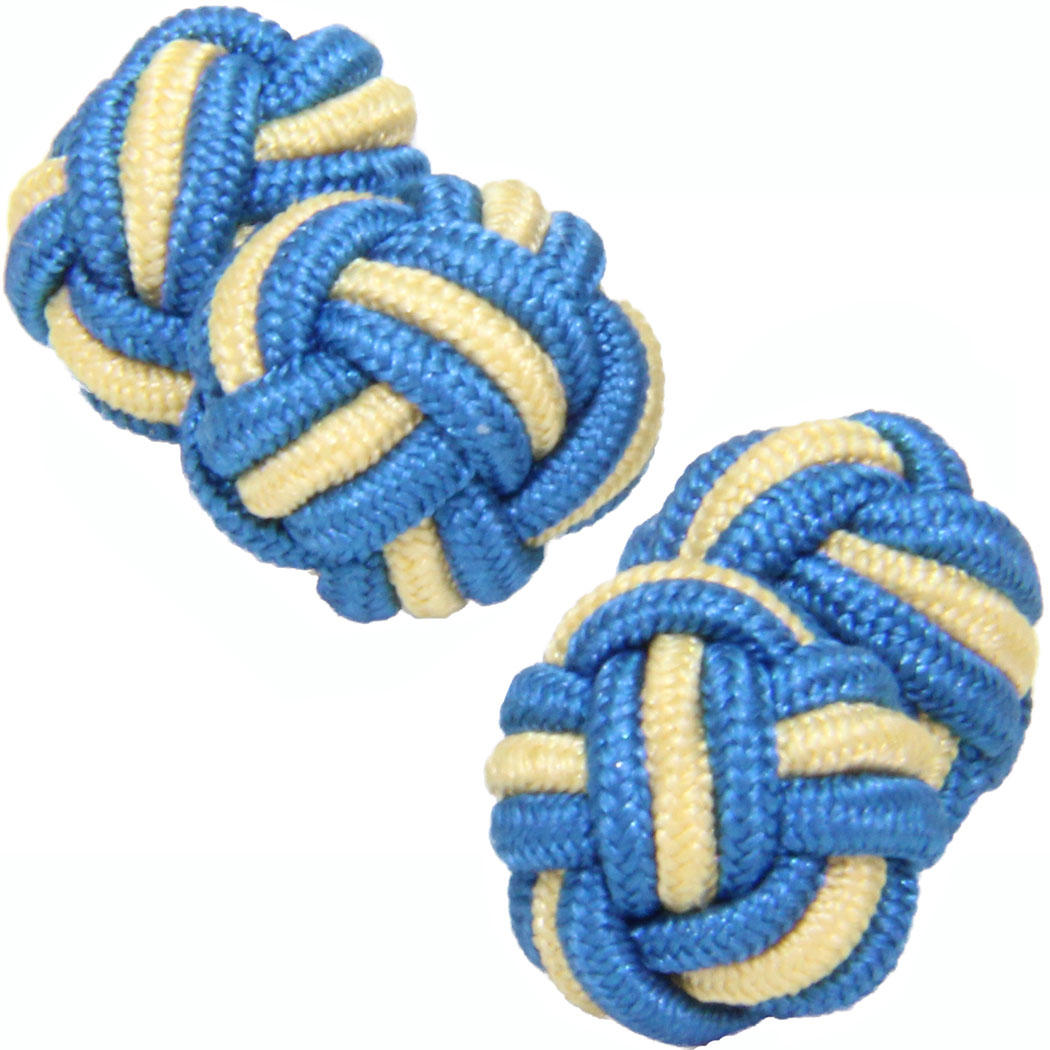 Petrol Blue and Light Yellow Silk Knot Cufflinks from Cuffs & Co
