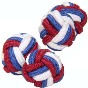 Red, White and Blue Silk Knot Cufflinks from Cuffs & Co