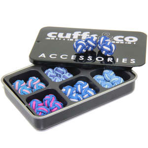 Blue Twist Silk Knot Cufflink Set from Cuffs & Co