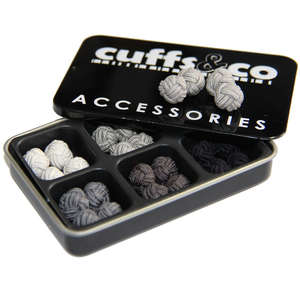 Shades of Grey Silk Knot Cufflink Set from Cuffs & Co