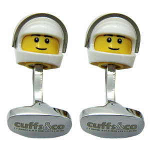 White Helmet LEGO® Head Cufflinks from Cuffs & Co