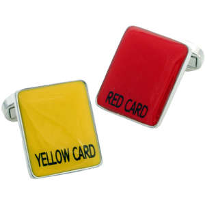 Red and Yellow Referee Card Cufflinks from Cuffs & Co