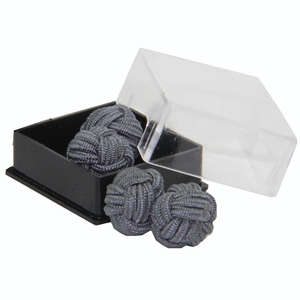 Grey Silk Knot Cufflinks from Cuffs & Co