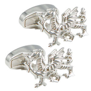 Sterling Silver Welsh Dragon Cufflinks from Cuffs & Co