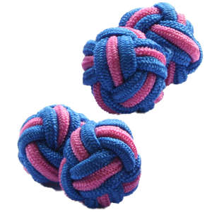 Blue and Pale Pink Silk Knot Cufflinks from Cuffs & Co