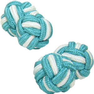 Jade and Pale Green Silk Knot Cufflinks from Cuffs & Co