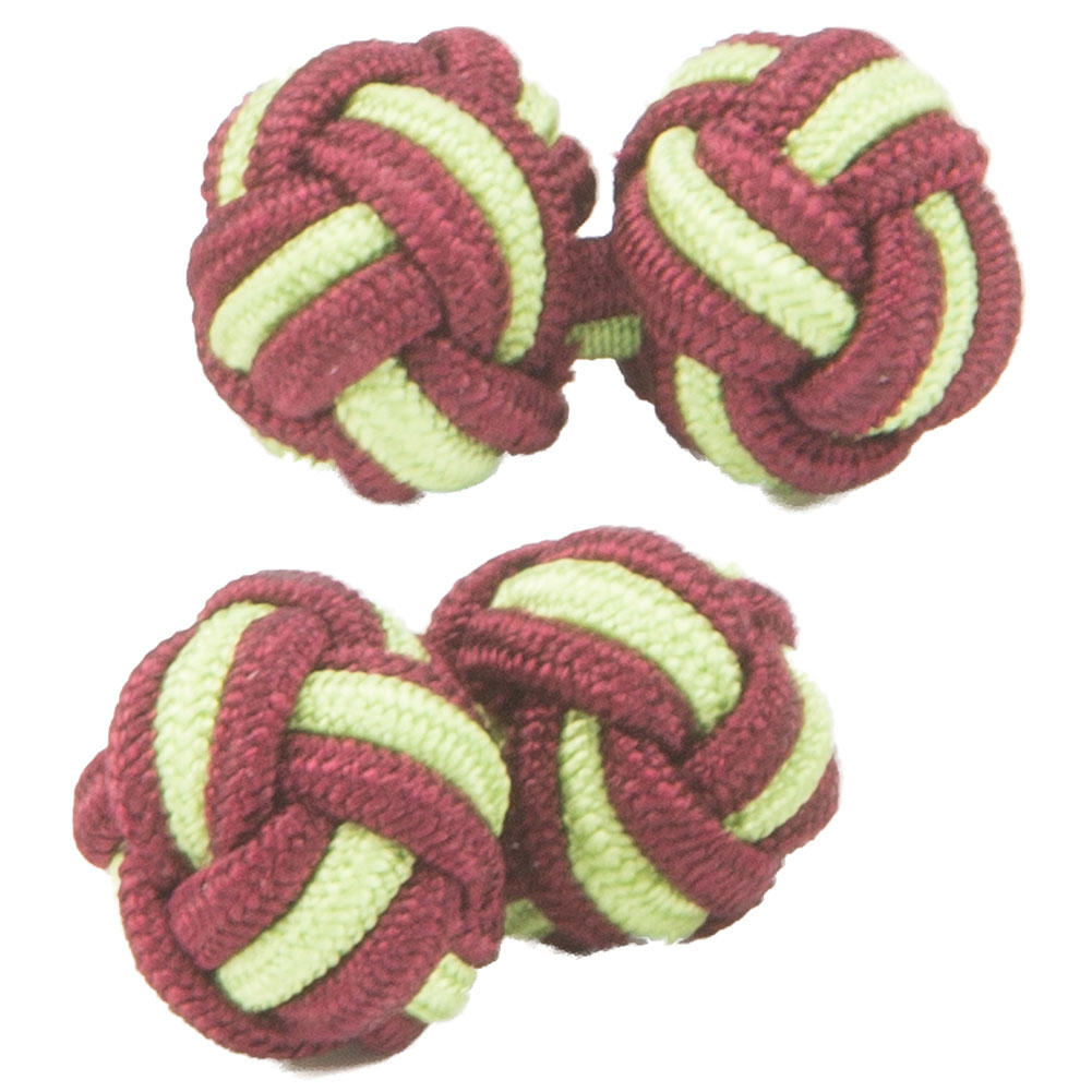 Maroon and Lime Green Silk Knot Cufflinks from Cuffs & Co