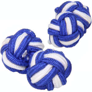 Royal Blue and White Silk Knot Cufflinks from Cuffs & Co