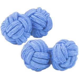Rich Blue Silk Knot Cufflinks from Cuffs & Co