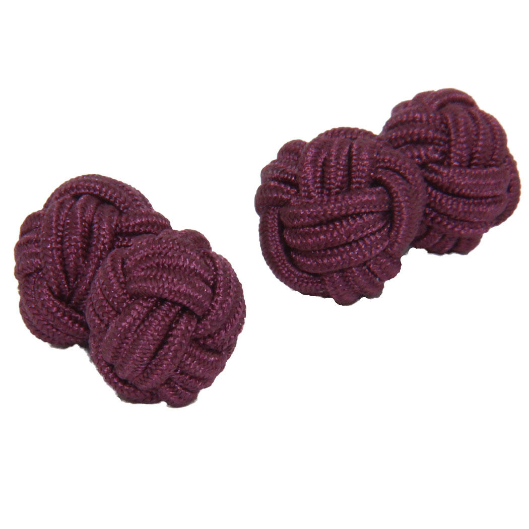 Plum Silk Knot Cufflinks from Cuffs & Co