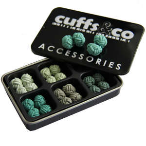 Country Greens Silk Knot Cufflink Set from Cuffs & Co