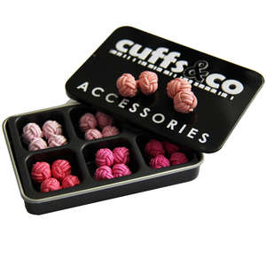 Shades of Pink Silk Knot Cufflink Set from Cuffs & Co