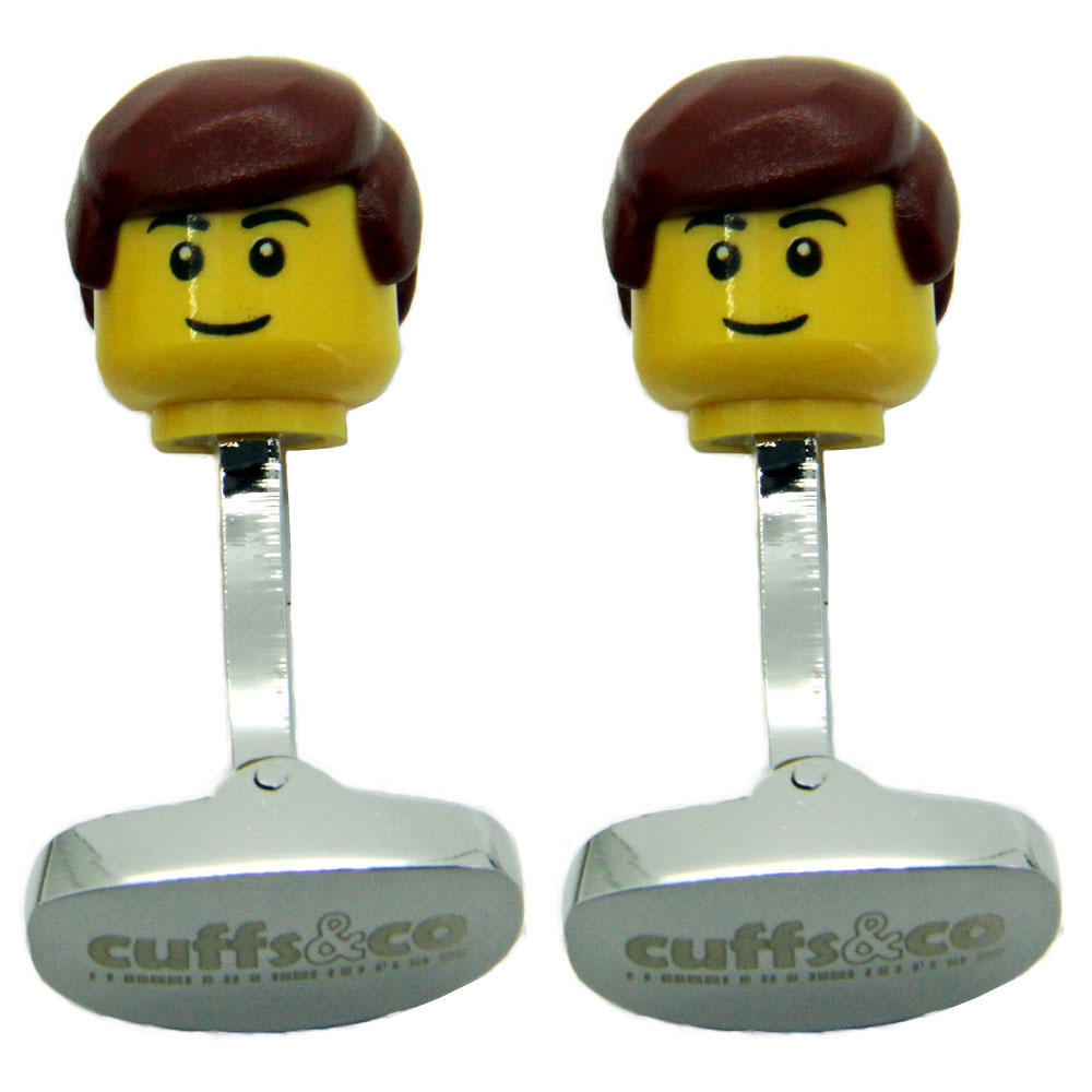 Brown Hair Man LEGO® Head Cufflinks from Cuffs & Co