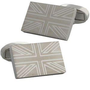 Union Jack Flag Engraving Cufflinks from Cuffs & Co