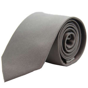Light Grey Narrow Woven Silk Tie from Cuffs & Co