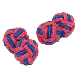 Blush Pink and Vibrant Blue Silk Knot Cufflinks from Cuffs & Co