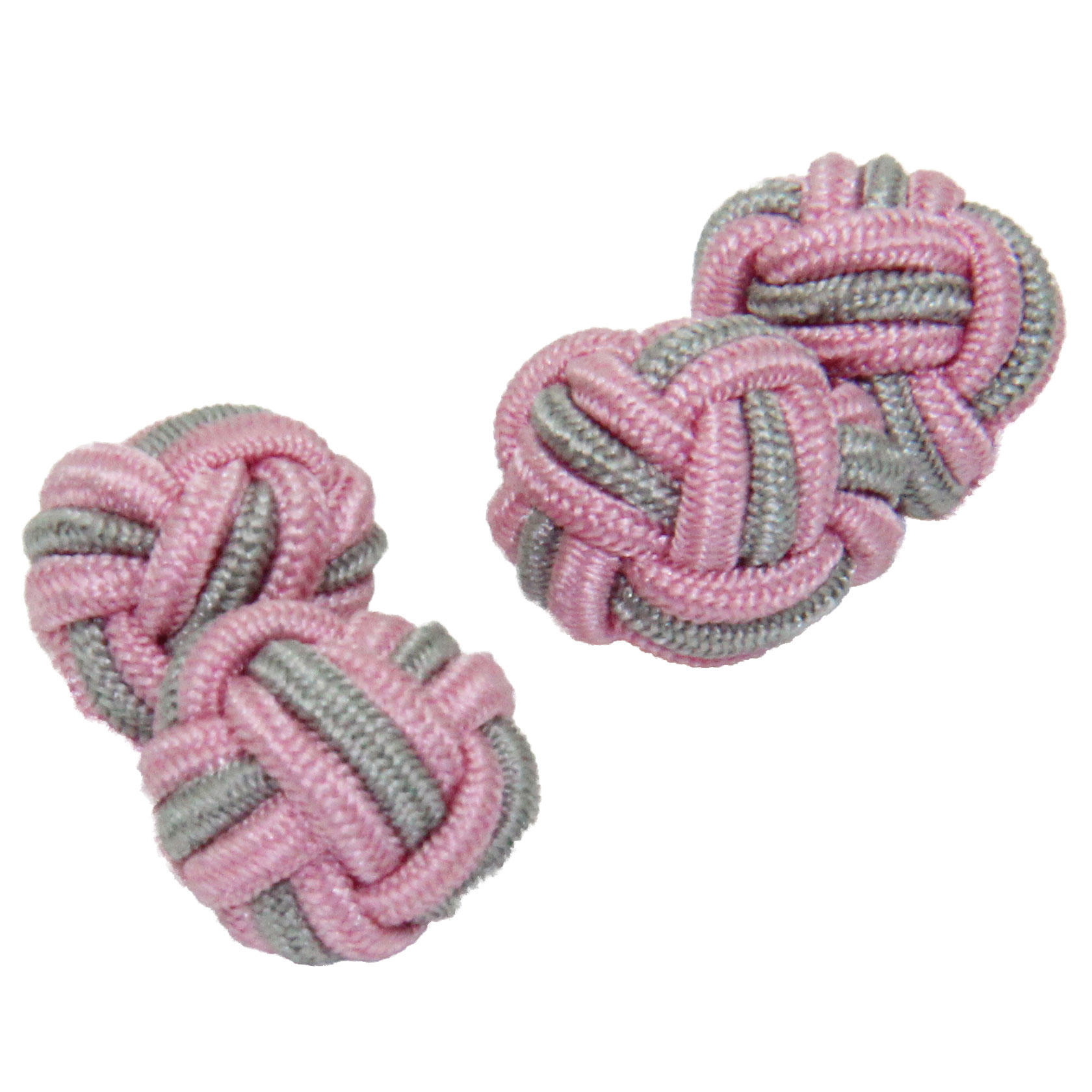 Pale Pink and Grey Silk Knot Cufflinks from Cuffs & Co