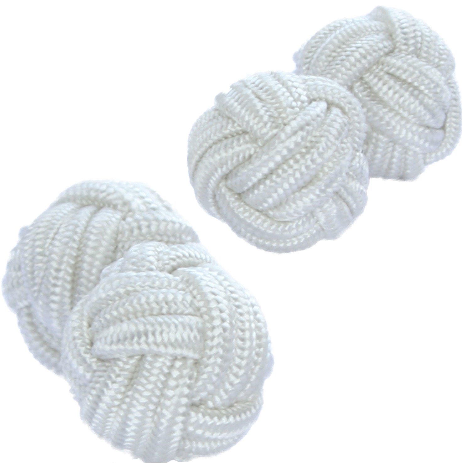 Pure White Silk Knot Cufflinks from Cuffs & Co