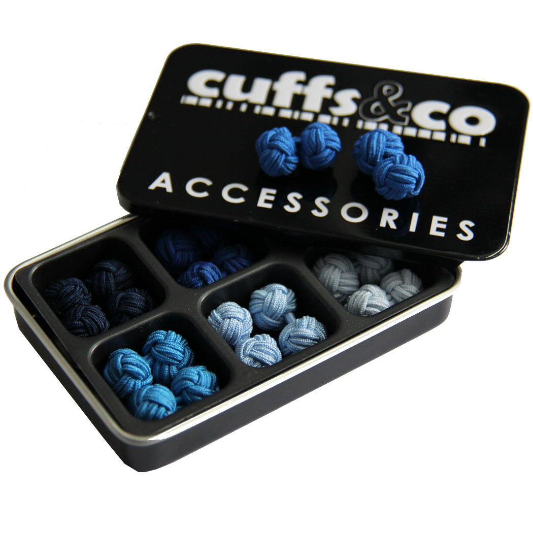 Winter Blues Silk Knot Cufflink Set from Cuffs & Co