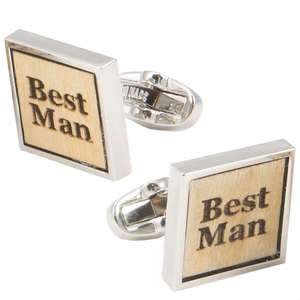Birch Wood Best Man Cufflinks from Cuffs & Co
