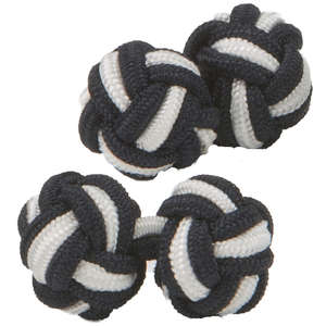 Black and White Silk Knot Cufflinks from Cuffs & Co