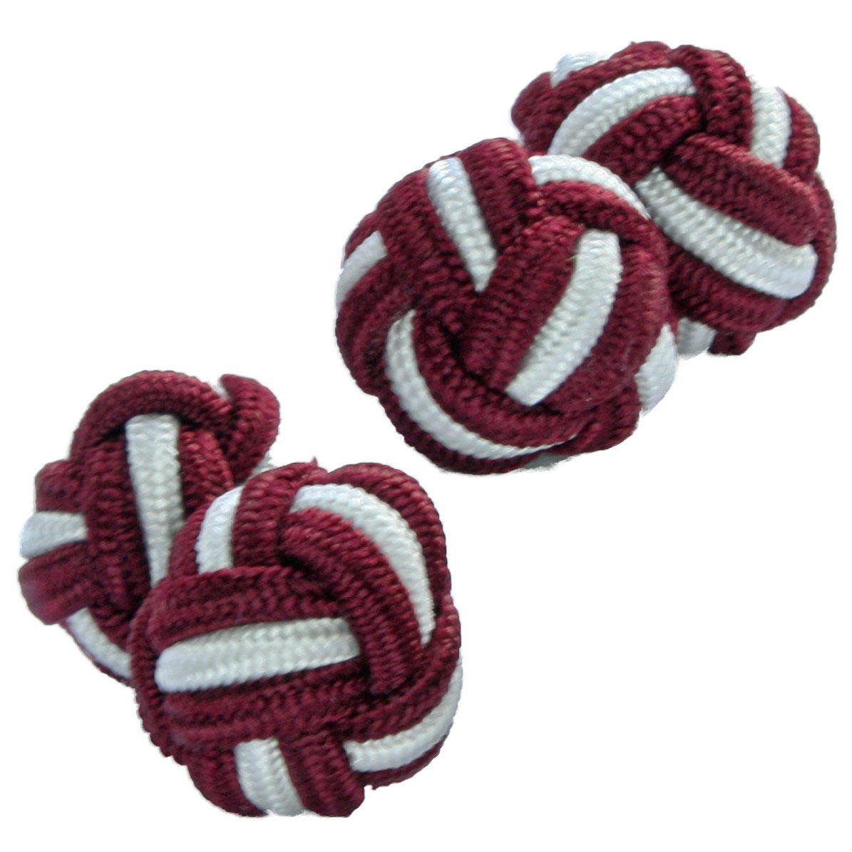 Maroon and White Silk Knot Cufflinks from Cuffs & Co