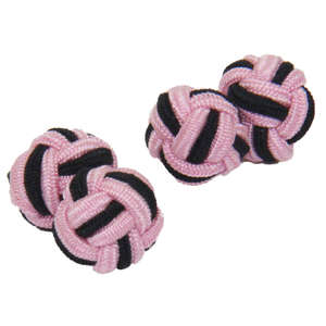 Pink and Black Silk Knot Cufflinks from Cuffs & Co
