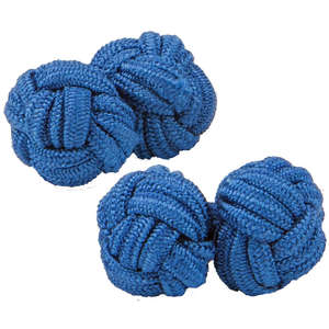 Dark Blue Silk Knot Cufflinks from Cuffs & Co