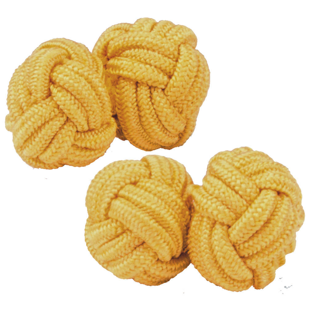 Burnt Yellow Silk Knot Cufflinks from Cuffs & Co